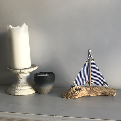 DRIFTWOOD BOAT WITH BLUE STRIPE SAIL