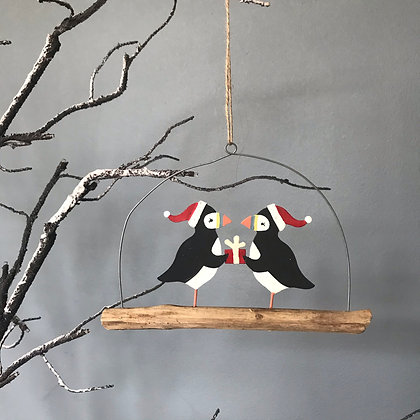 CHRISTMAS PUFFIN PAIR HANGER