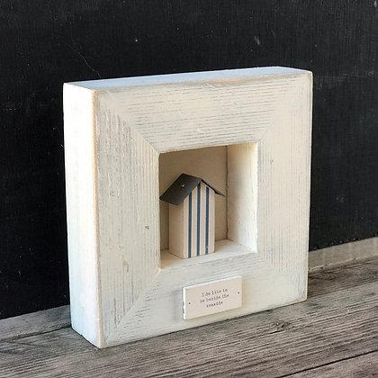 MINI BOX FRAMED BEACH HUT PICTURE