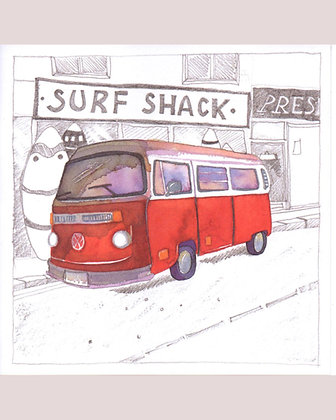 CAMPERVAN OUTSIDE SURF SHACK CARD BY EMMA BALL