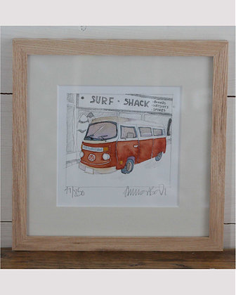 EMMA BALL RED CAMPER MINI FRAMED PRINT