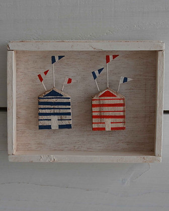 DISTRESSED BOX FRAMED BEACH HUT PICTURE