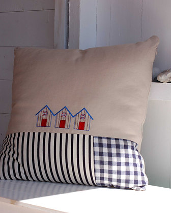 EMBROIDERED BEACH HUT CUSHION