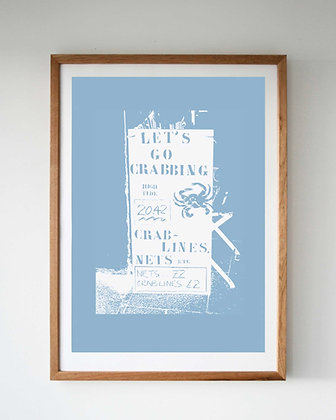 LET'S GO CRABBING BLUE SCREEN PRINT