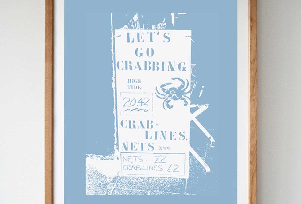 LET'S GO CRABBING BLUE SCREEN PRINT