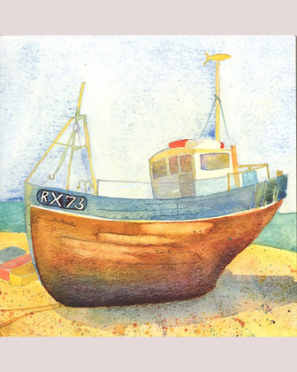 BOAT AT HASTINGS CARD BY EMMA BALL