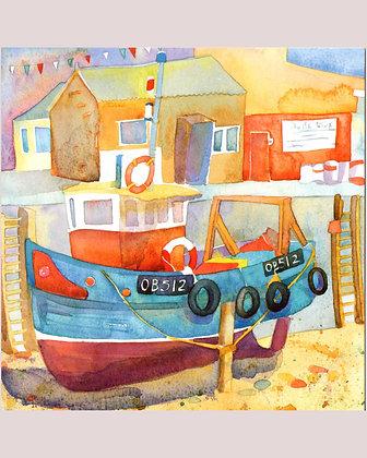 BOATS AT MALLAIG CARD BY EMMA BALL