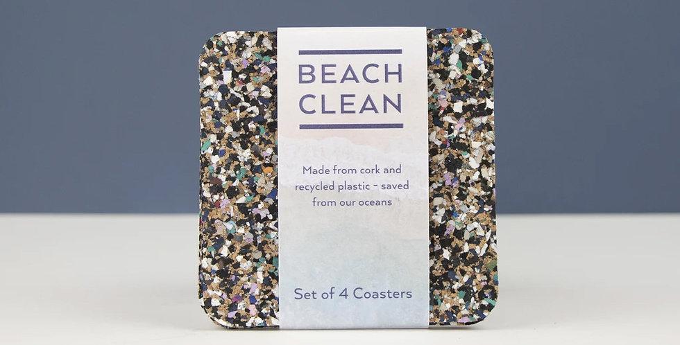 BEACH CLEAN SQUARE COASTER SET
