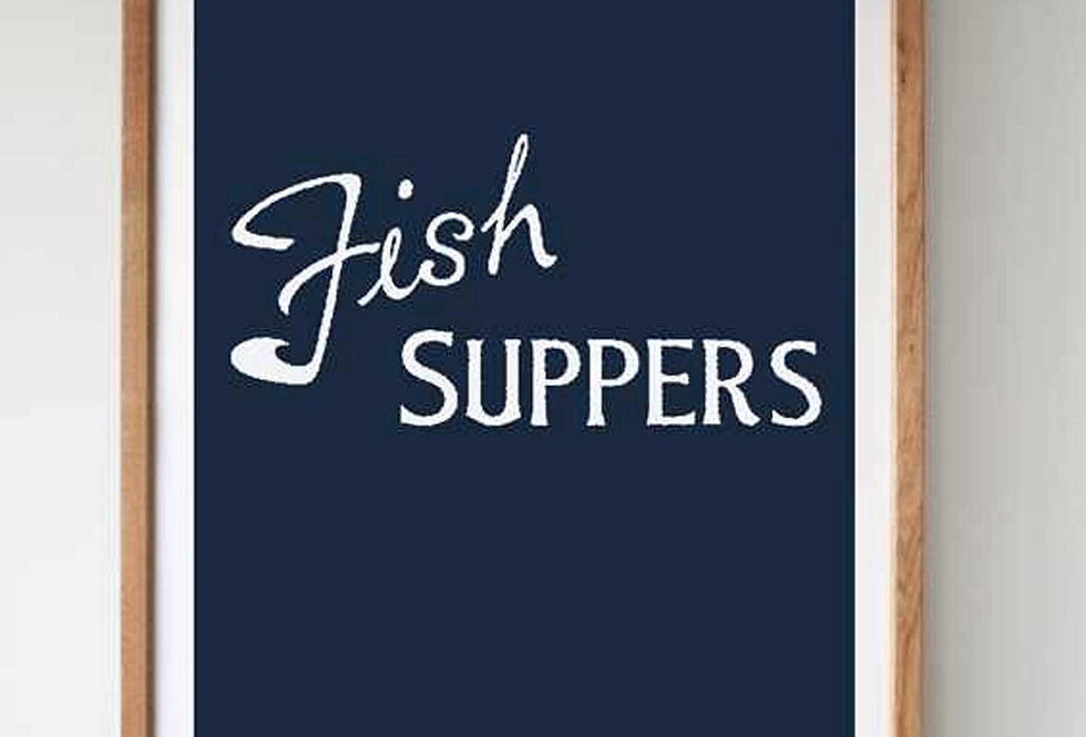 FISH SUPPERS SCREEN PRINT - NAVY