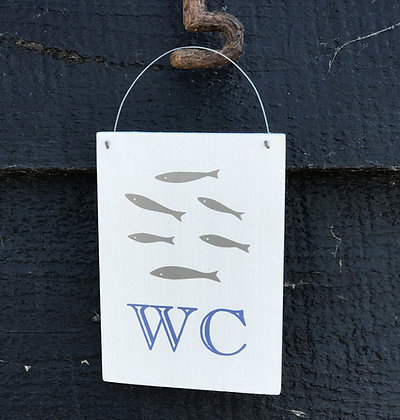 FISH WC WHITE SIGN