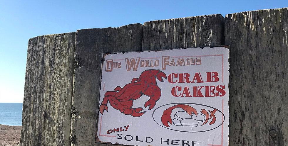 CRAB CAKES METAL SIGN