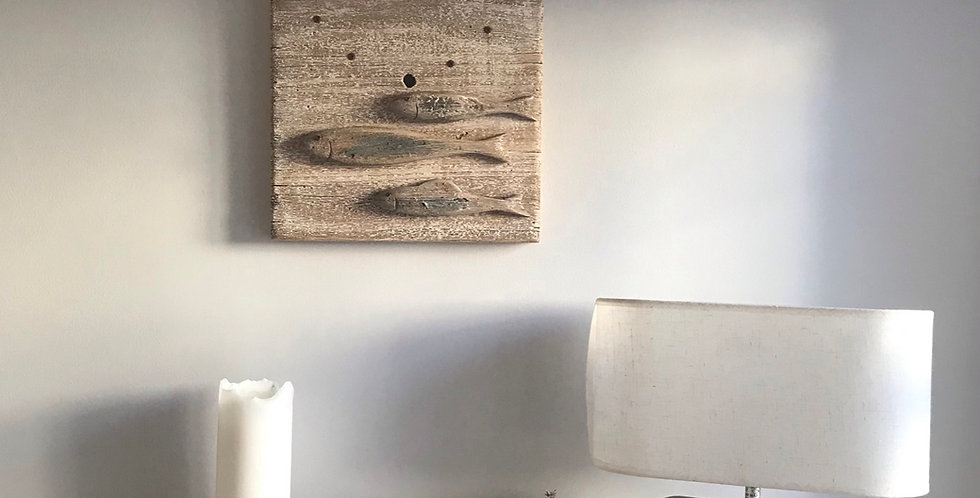 WOODEN FISH WALL CLOCK