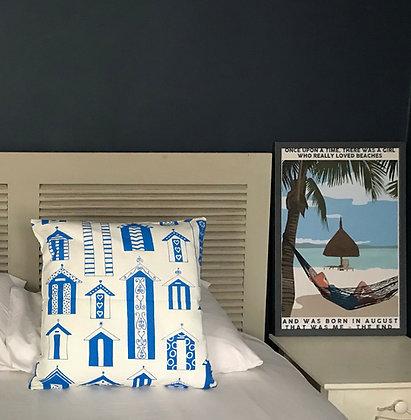 HANDMADE ROYAL BLUE BEACH HUT CUSHION