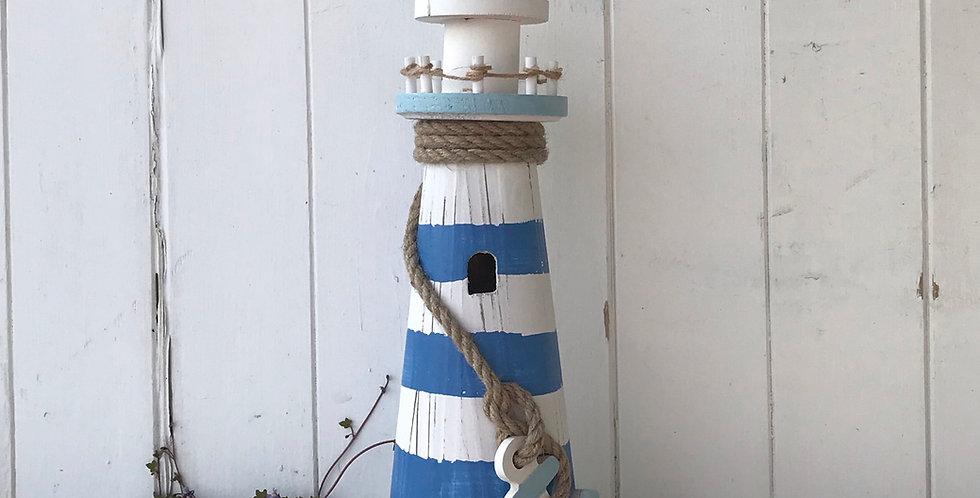 BLUE & WHITE STRIPE LIGHTHOUSE WITH LED LIGHTS