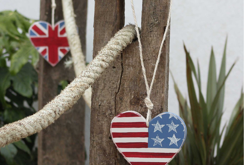 LARGE AMERICAN FLAG WOODEN HEART