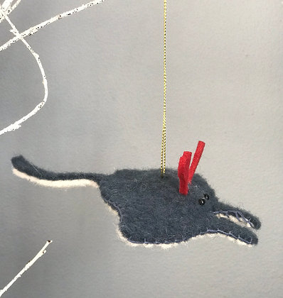 FELT MANTA RAY WITH ANTLERS CHRISTMAS DECORATION