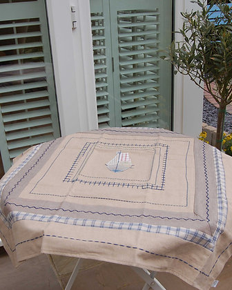 APPLIQUED SAILBOAT TABLECLOTH