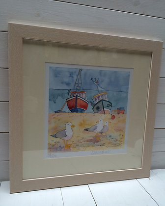 EMMA BALL FISHING BOATS AND GULL LIMITED EDITION FRAMED PRINT