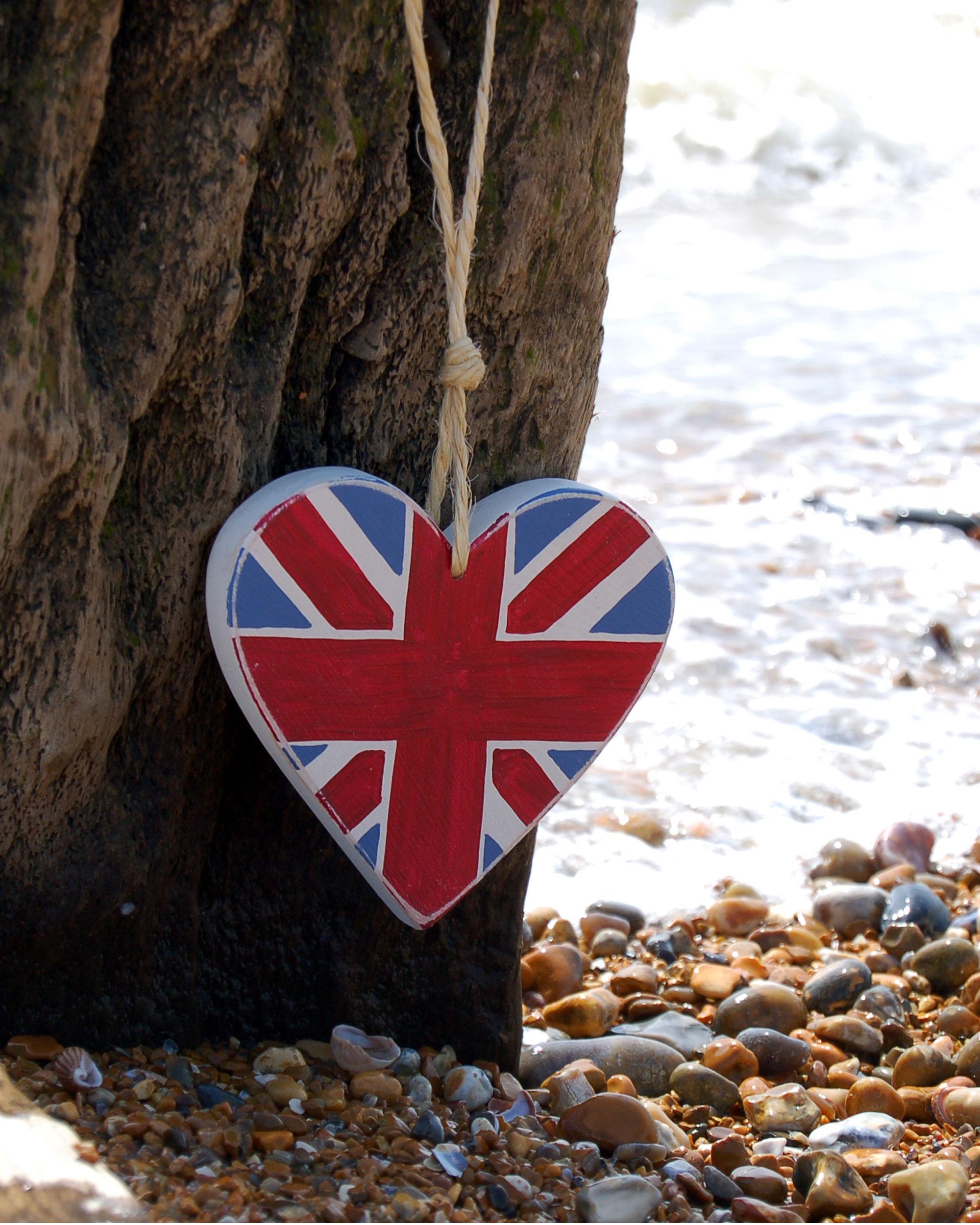 Union Jack Wooden Heart