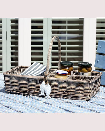 WICKER NAPKIN AND CONDIMENTS CADDY