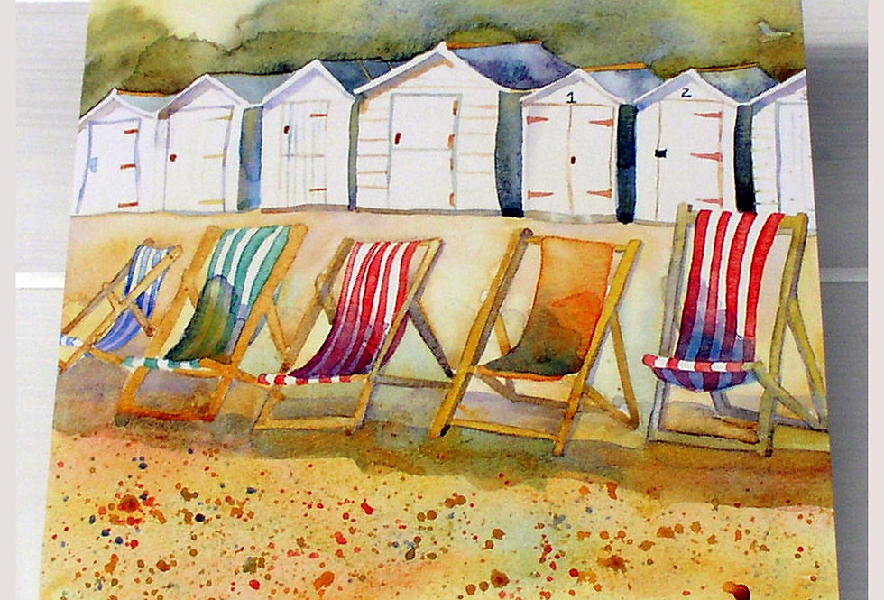 DECKCHAIRS AND HUTS CARD BY EMMA BALL