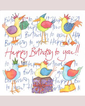 COASTAL BIRTHDAY BIRDS CARD BY EMMA BALL