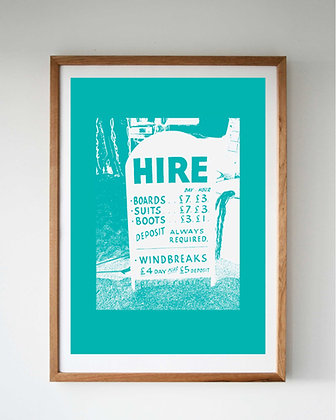 TURQUOISE SURF HIRE SCREEN PRINT