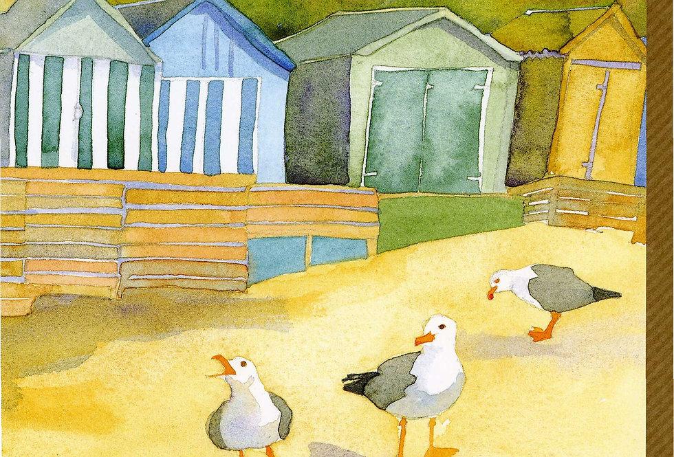 BEACH HUTS AT ABERSOCH CARD BY EMMA BALL