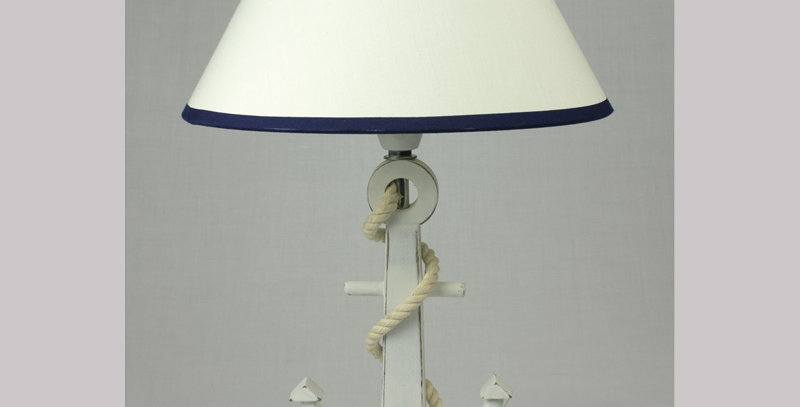 WHITE ANCHOR & ROPE LAMP