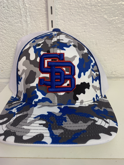 Camo Blue Staunton Braves SB Logo Flex Fit Hat LG-XL