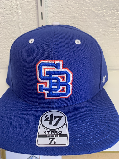 Staunton Braves SB Logo All Blue Fitted Hat 7 1/8