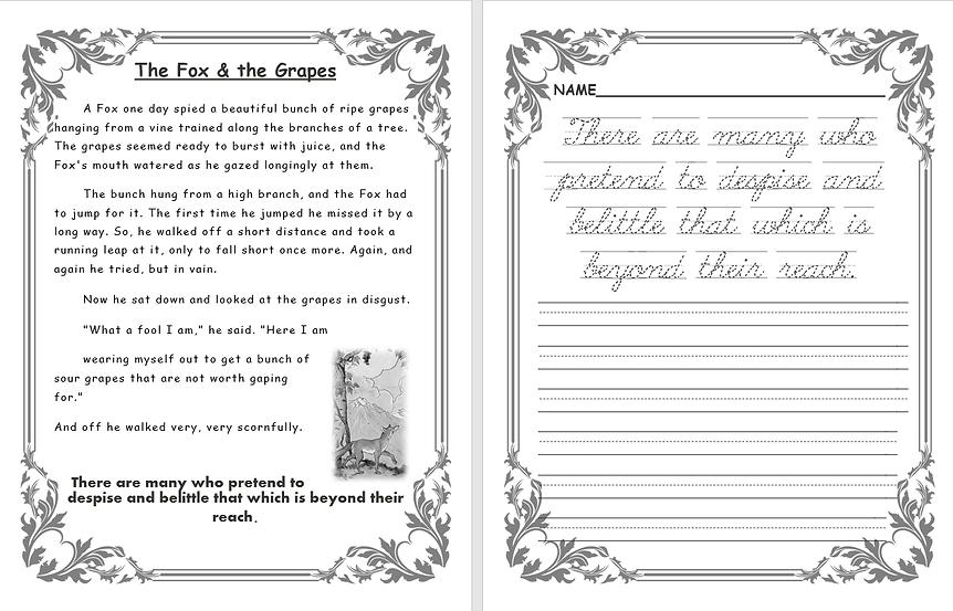 Aesop's fables copywork pages