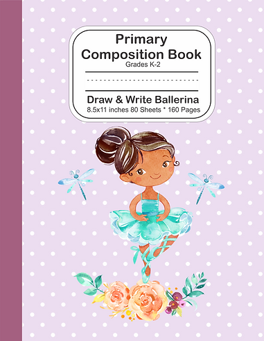 Draw and write notebook cute brown skin ballerina