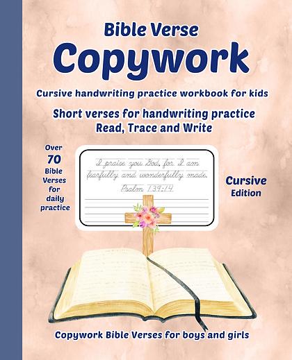 Bible verse cursive copywork workbook
