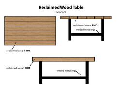 Reclaimed Wood Table Concept