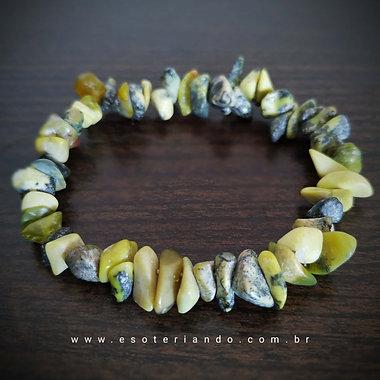 Pulseira cascalho de serpentinita - Detox e revitalizante