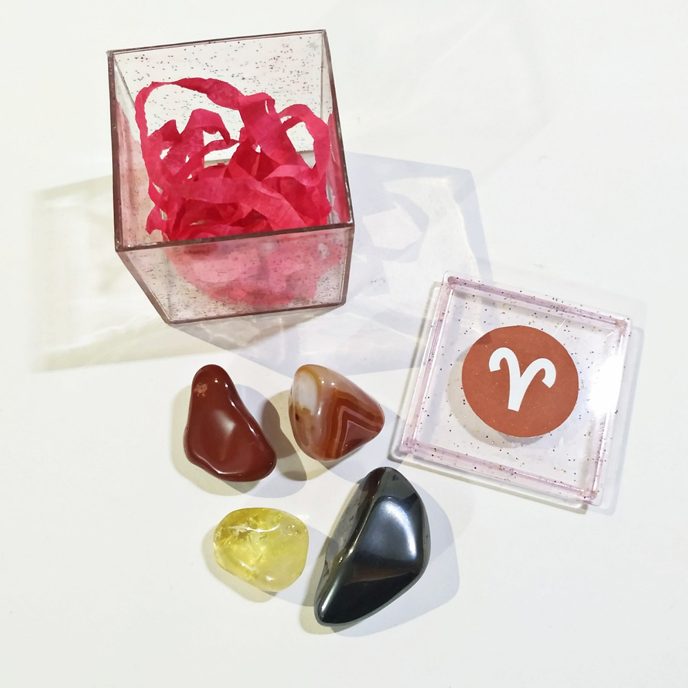 O kit do signo de áries contém 4 pedras que potencializam suas qualidades e neutralizam os excessos.