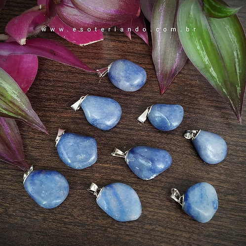 Pingente quartzo azul natural