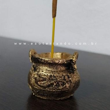 Incensário caldeirão dourado P