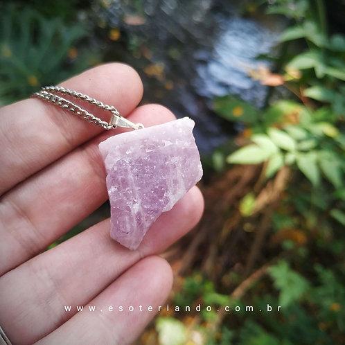 Colar Kunzita bruta - A pedra de Kuan Yin