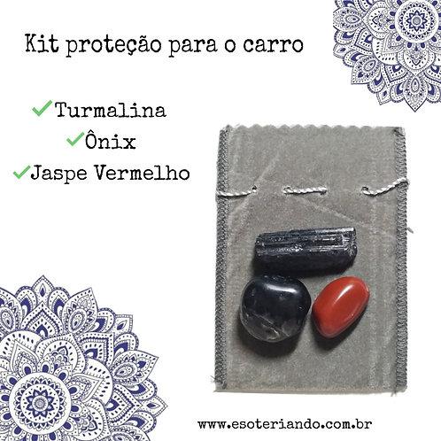 Kit proteção para o carro - Turmalina negra,Ônix e Jaspe vermelho