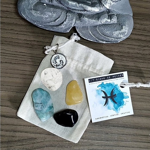 Kit signo de Peixes - cristais de bolso + pingente