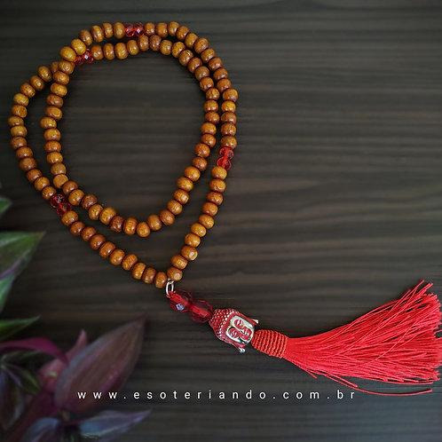 Japamala 108 contas em madeira + buda e franja vermelho