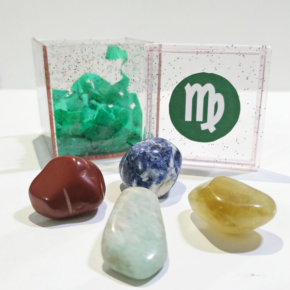 O kit do signo de virgem contém 4 pedras que potencializam suas qualidades e neutralizam os excessos.