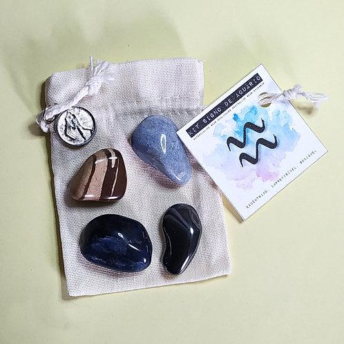Kit signo de aquário - cristais de bolso + pingente