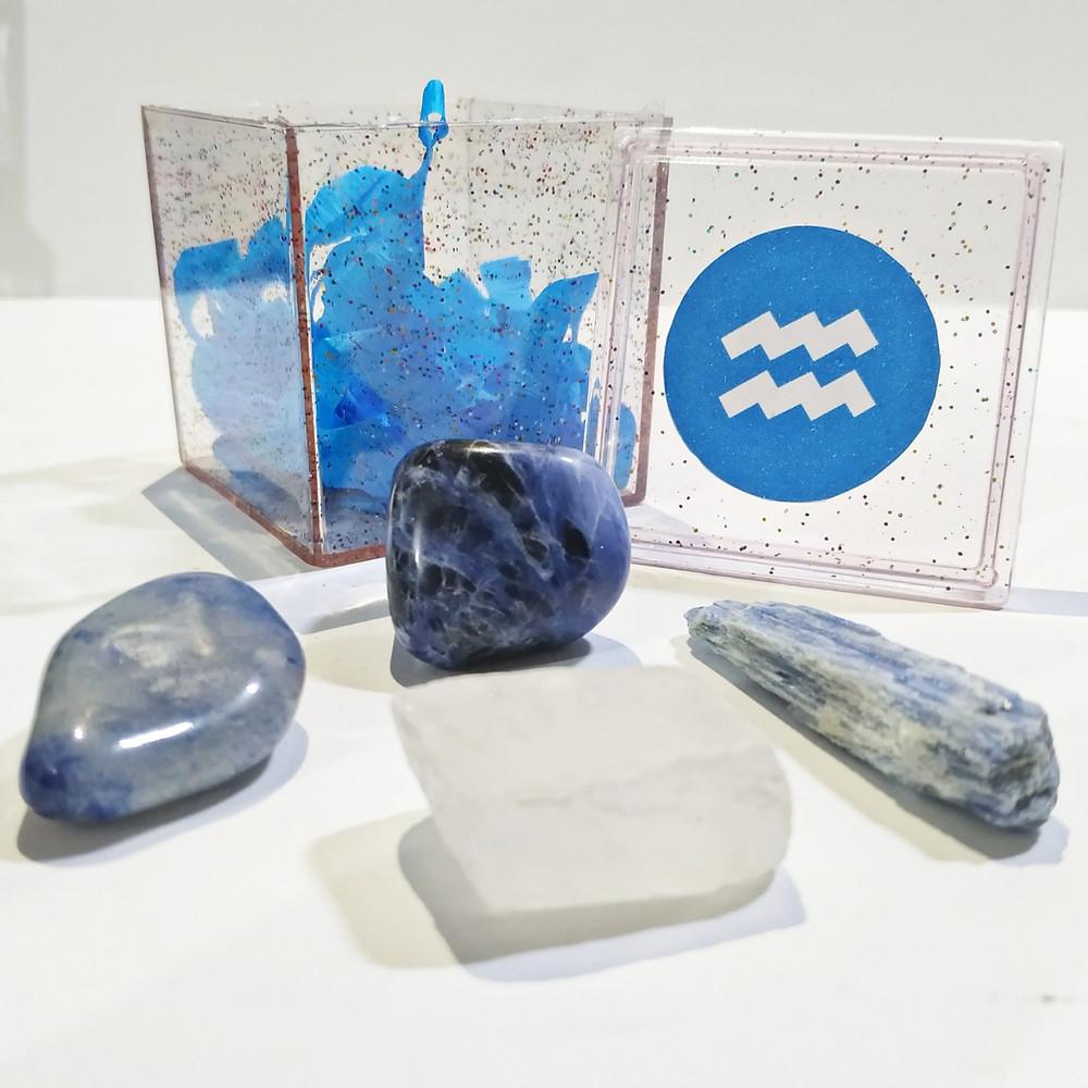 O kit do signo de Aquário contém 4 pedras que potencializam suas qualidades e neutralizam os excessos.