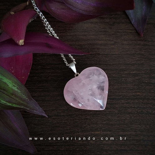Colar Coração Quartzo Rosa - Amor e Autoestima