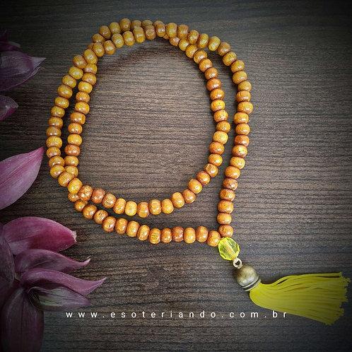 Japamala em madeira 108 contas - Amarelo