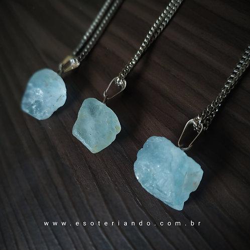 Colar Topázio Azul Bruto - Sri Lanka