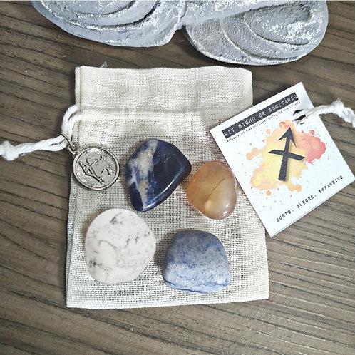 Kit signo de sagitário - cristais de bolso + pingente